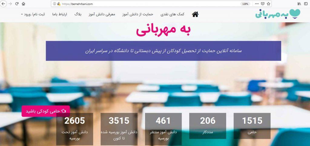 به مهربانی، سامانه آنلاین حمایت از تحصیل کودکان